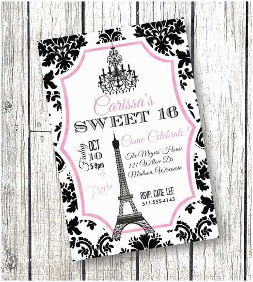 Paris Birthday Invitations Sweet 16 Invitation Theme Party Or