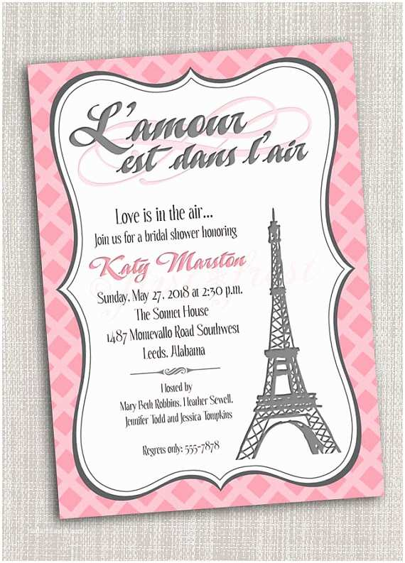 Paris Party Invitations French Themed Eiffel Tower Invitation Card