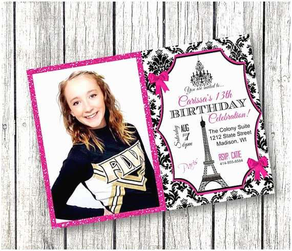 Paris Party Invitations Paris Birthday Invitation Photo Paris theme Glitter Sparkly