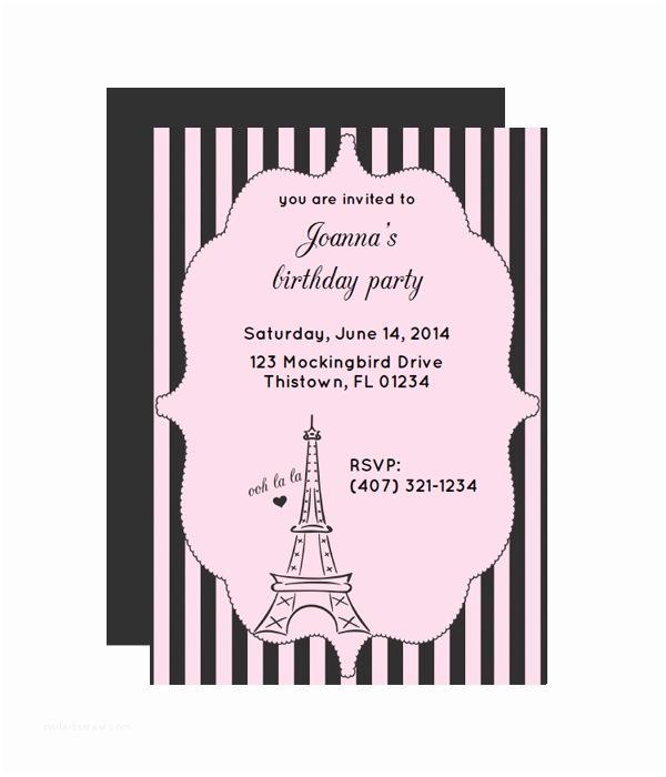 Paris Party Invitations Paris Free Printable Party Invitation From