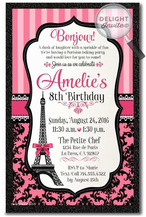 Paris Party Invitations Paris themed Birthday Thank You Cards [di 685ty