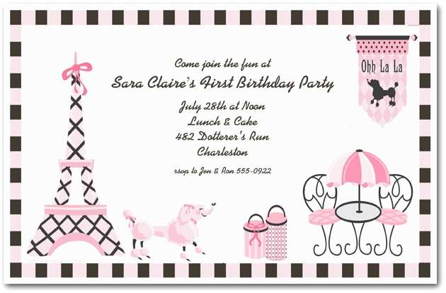 Paris Party Invitations Pink Poodle In Paris Invitation Girl S Birthday Invitations