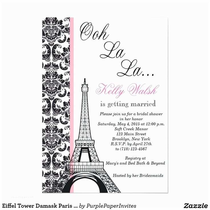 Paris themed Quinceanera Invitations Eiffel tower Damask Paris Bridal Shower Invitation