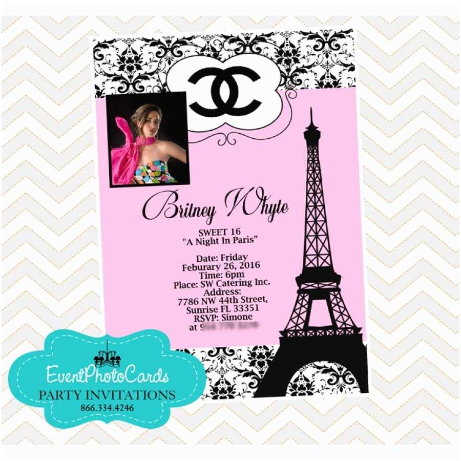 Paris themed Quinceanera Invitations Paris Chanel Quinceanera Invites Fashion Couture