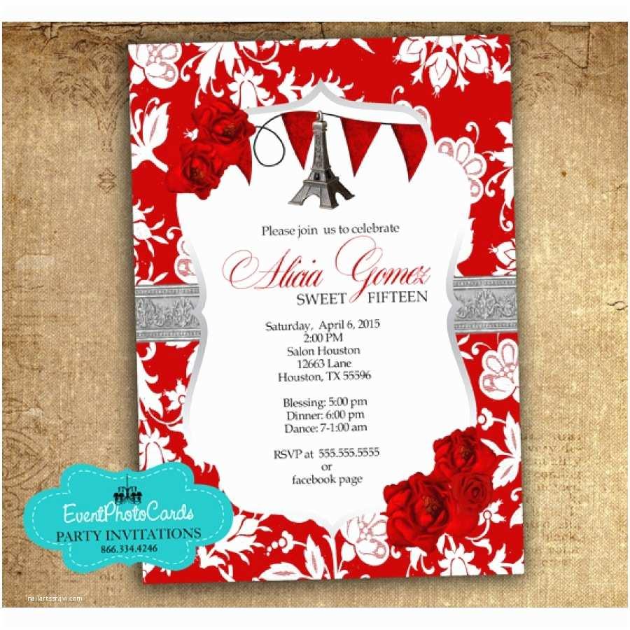 red paris invitations roses