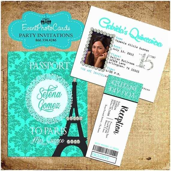Paris themed Quinceanera Invitations Quinceanera Paris Passport Invitations Sweet by