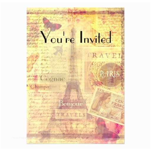 Paris themed Wedding Invitations Bridal Shower Invitation Vintage Paris theme