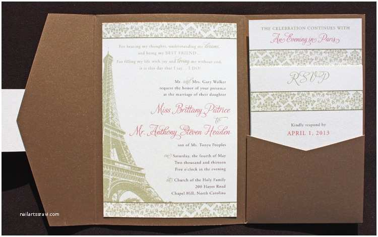 Paris  Wedding Invitations Gold Bronze & Pink Damask & Eiffel Tower Paris