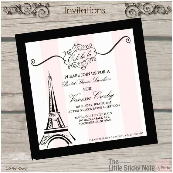 Paris Themed Wedding Invitations Items Similar To Paris Themed Bridal Shower Invitations