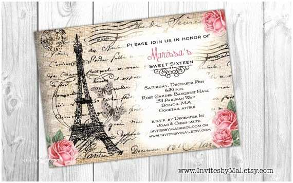 Paris Themed Wedding Invitations Option 5 Paris Themed Multi Purpose Invitation Sweet