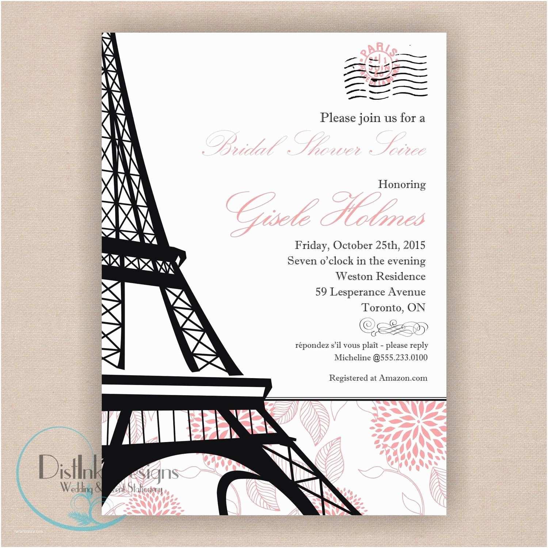 Paris themed Wedding Invitations Paris Bridal Shower Invitation Printable 5x7 Eiffel