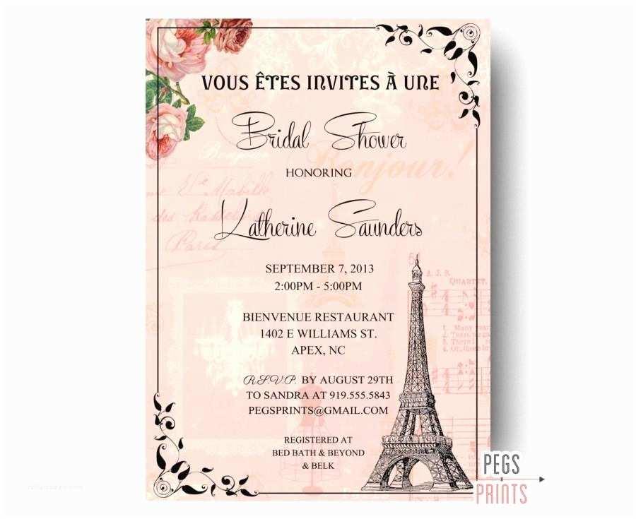 Paris  Wedding Invitations Paris Bridal Shower Invitation Printable Paris