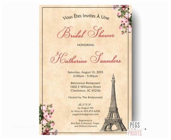 Paris Themed Wedding Invitations Paris  Shower Invitation Printable Parisian