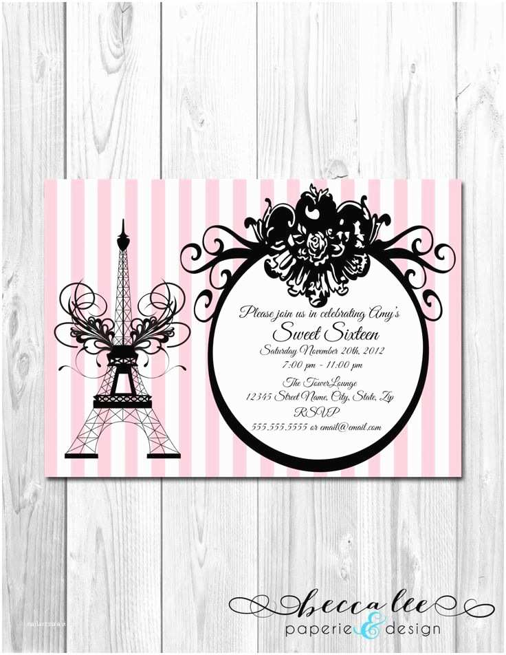 Paris Themed Wedding Invitations Paris Themed Bridal Shower Invitations
