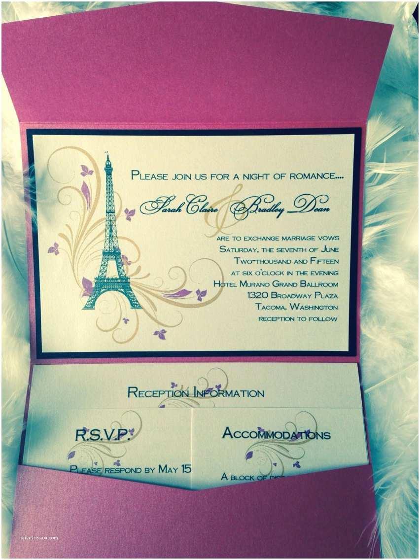Paris Themed Wedding Invitations Paris Themed Pocket Wedding Invitation