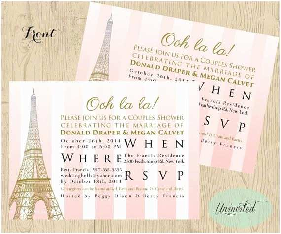 Paris Themed Wedding Invitations Pink And Gold Paris Theme Bridal  Bridal