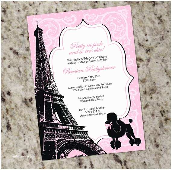 Paris Themed Wedding Invitations Pretty In Pink Paris Themed Baby Or Bridal