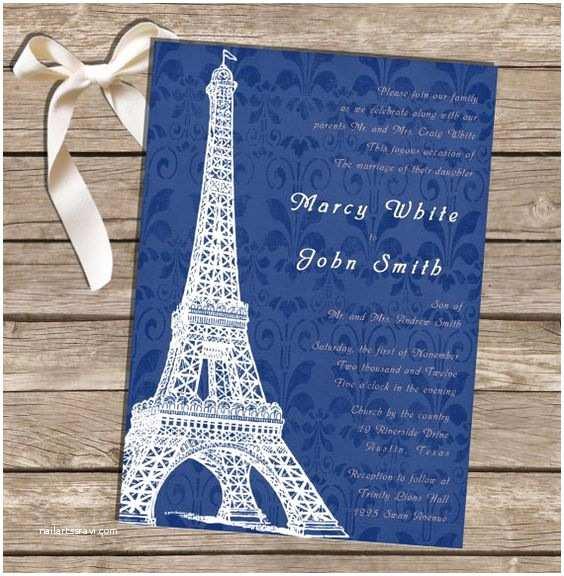 Paris themed Wedding Invitations Printable Wedding Invitation Paris theme Blue