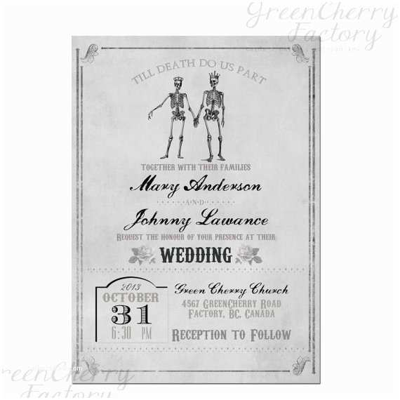 Parts Of Wedding Invitation Items Similar to Vintage Gray Skull Gothic Wedding