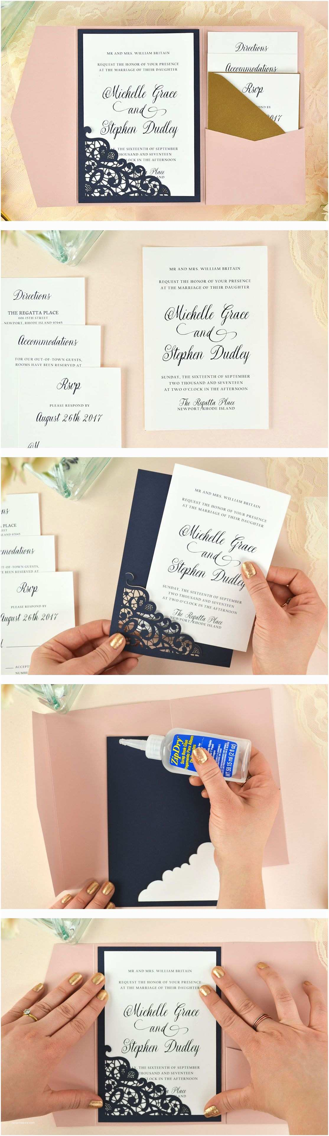 Parts Of Wedding Invitation Lace Laser Cut Wedding Invitation Free Invi and Diy