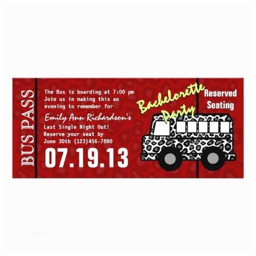 Party Bus Invitations Bachelorette Party Bus Pass 10 Cm X 24 Cm Invitation Card