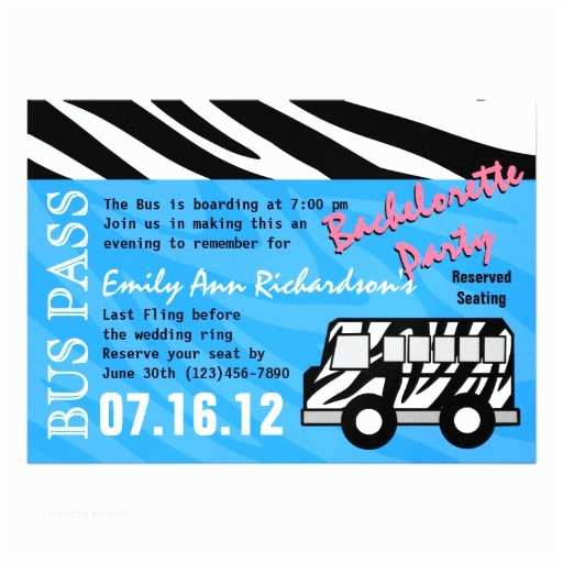 Party Bus Invitations Personalized Party Bus Invitations