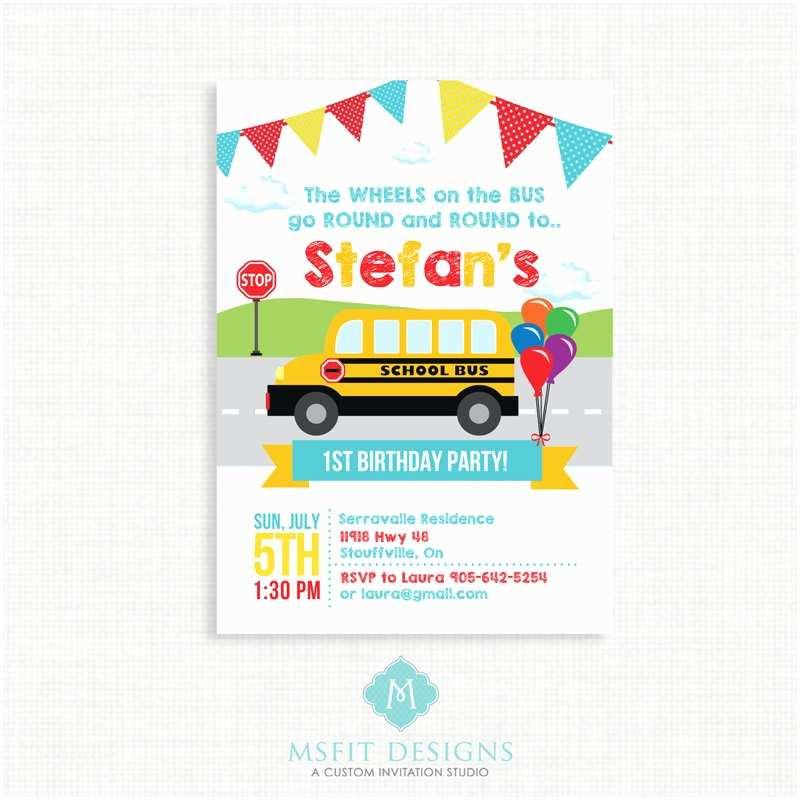 Party Bus Invitations School Fun Bus Birthday Party Printable