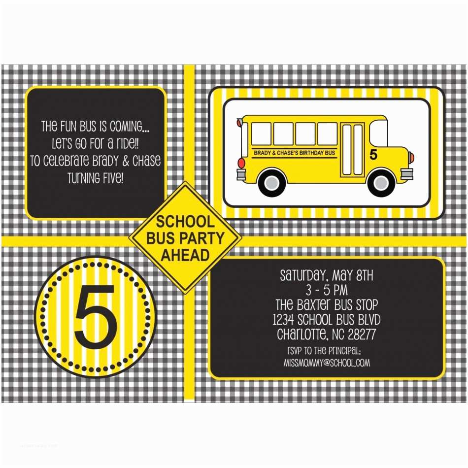 school bus invitation