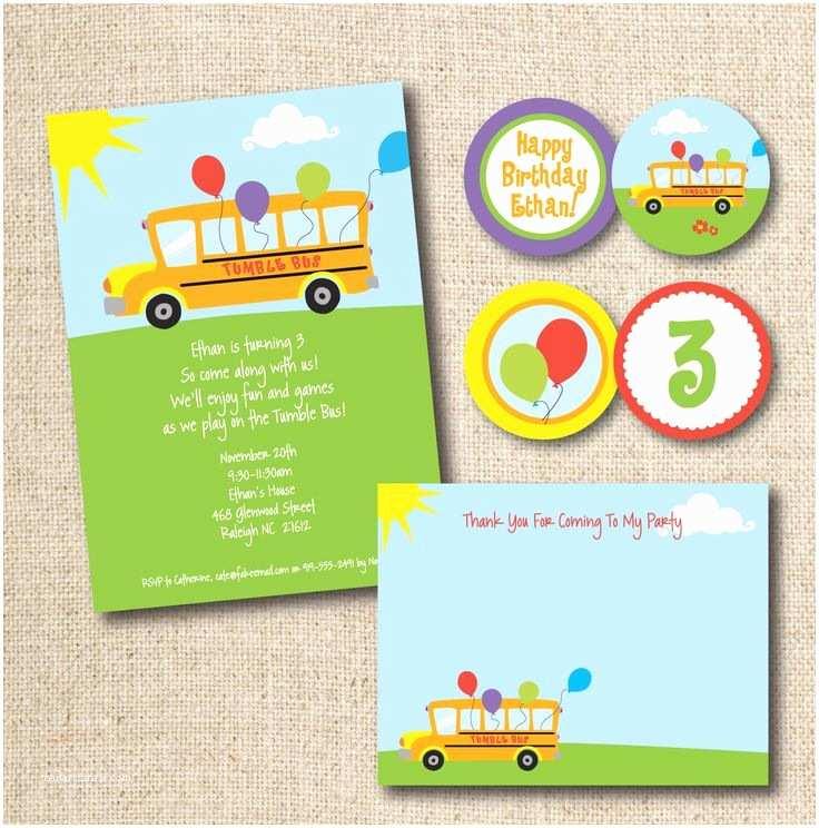 Party Bus Invitations Tumble Bus Birthday Party Invitation Custom Printable