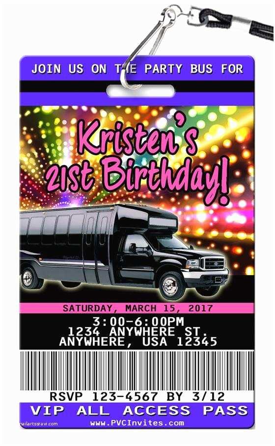 Party Bus Invitations Vip Pass Birthday Invitations Unique Authentic Plastic