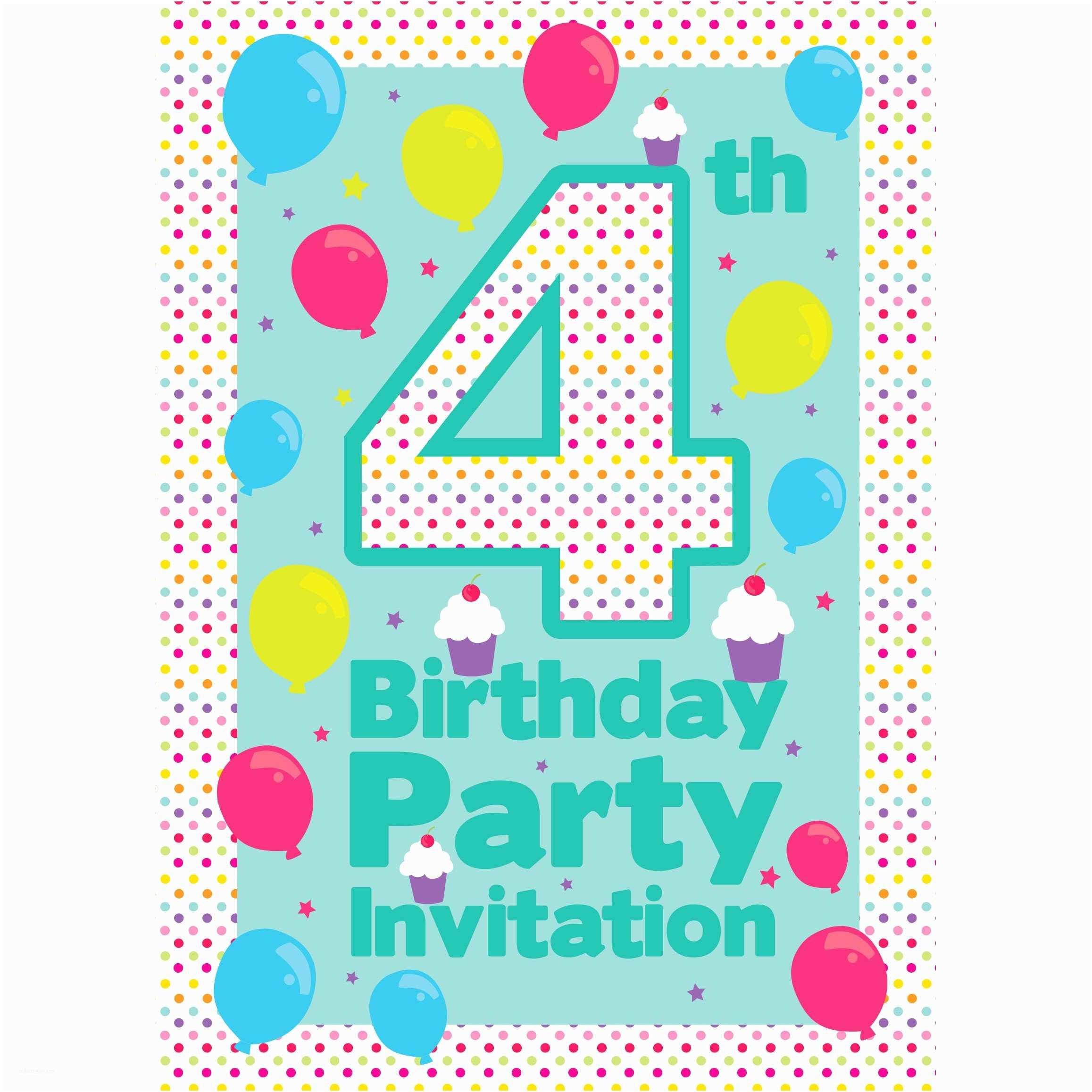 Party City Birthday Invitations Party Deko Zum 4 Geburtstag