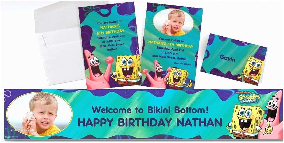 Party  Custom Invitations Custom Spongebob Invitations & Thank You Notes Party