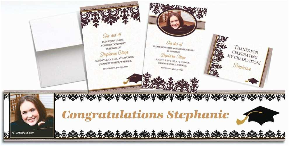 Party City Graduation Invitations Custom Black & White Graduation Invitations & Thank You