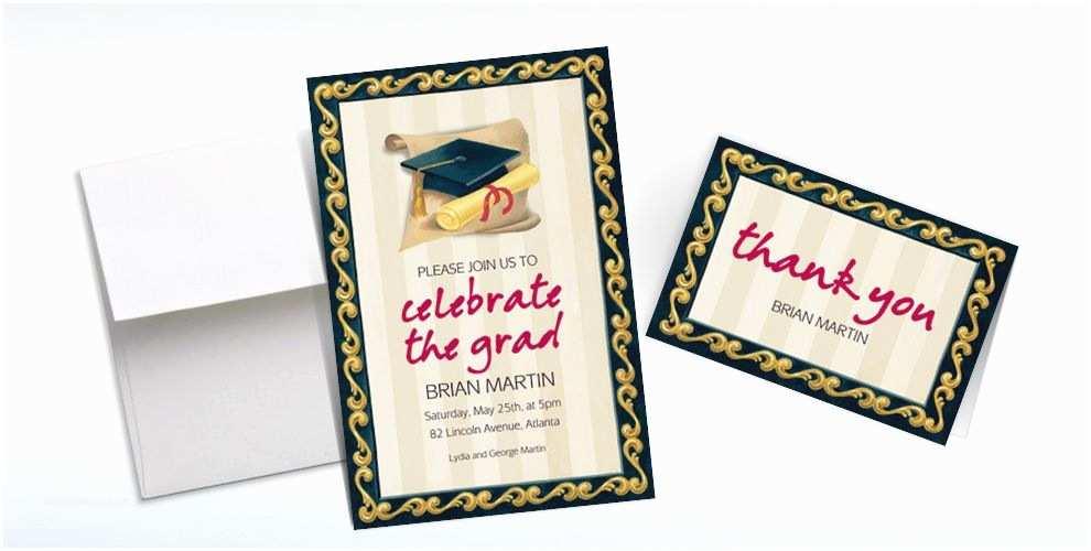 Party City Graduation Invitations Custom Black Grad Portrait Graduation Invitations & Thank
