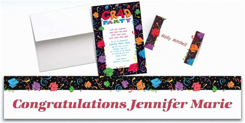Party City Graduation Invitations Custom Colorful Grad Party Graduation Invitations & Thank