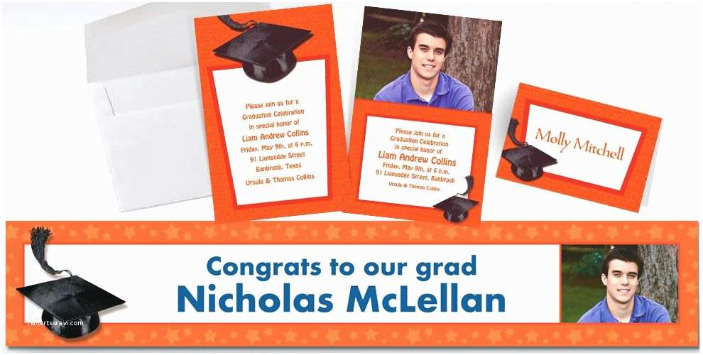 Party City Graduation Invitations Custom orange Graduation Invitations & Thank You Notes