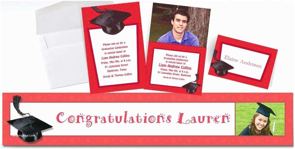Party City Graduation Invitations Custom Red Graduation Invitations & Thank You Notes