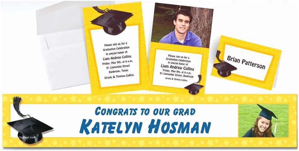 Party City Graduation Invitations Custom Yellow Graduation Invitations & Thank You Notes