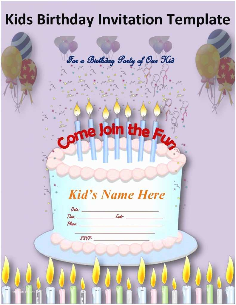 Party Invitation Sample Birthday Invitation Letter for Kids