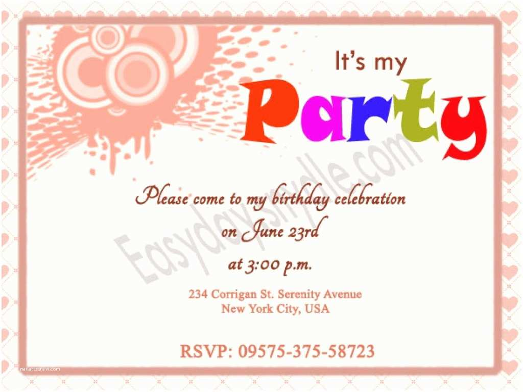 Party Invitation Sample Birthday Invitations Wording for Kids