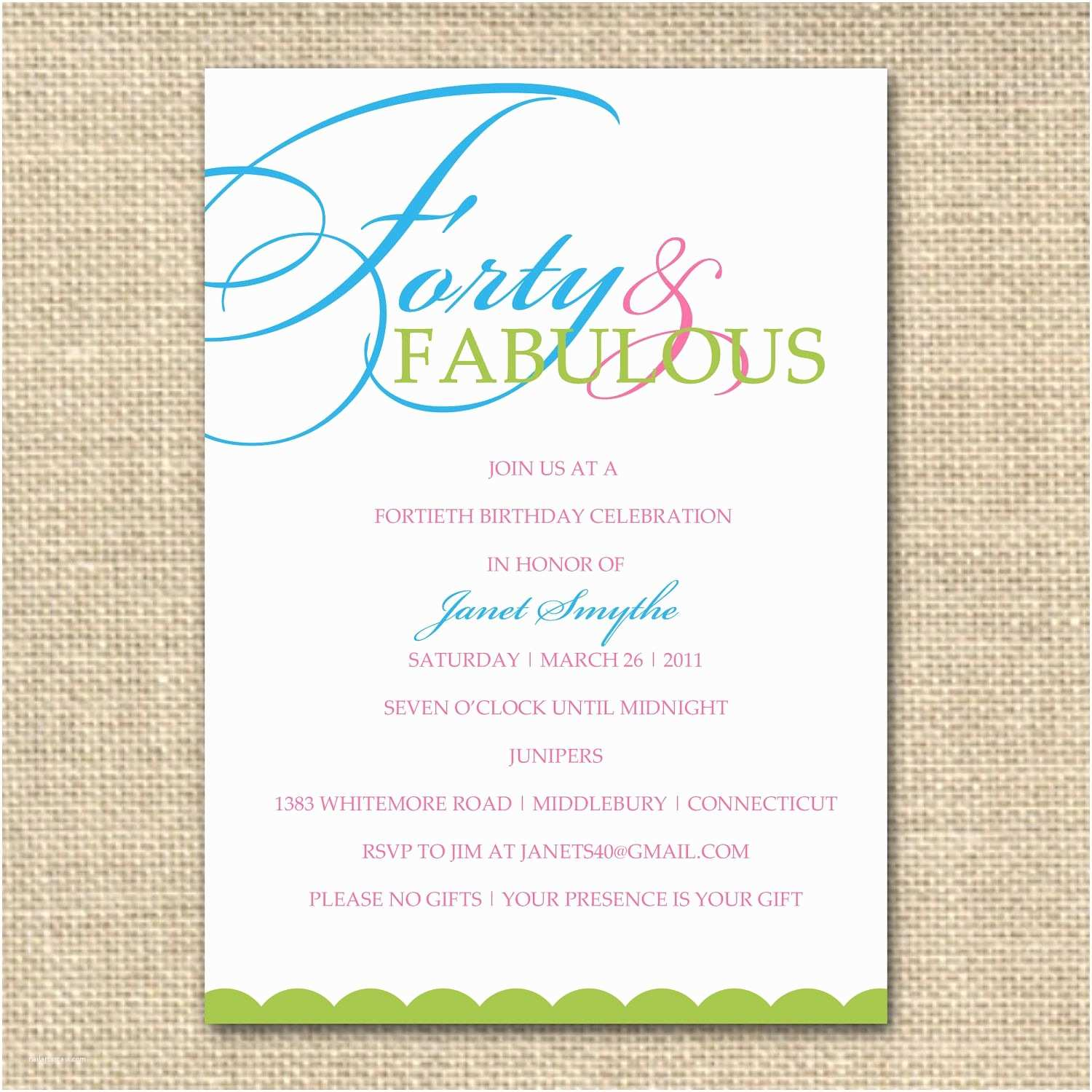 Party Invitation Sample Fantastic Funny 40th Birthday Invitations