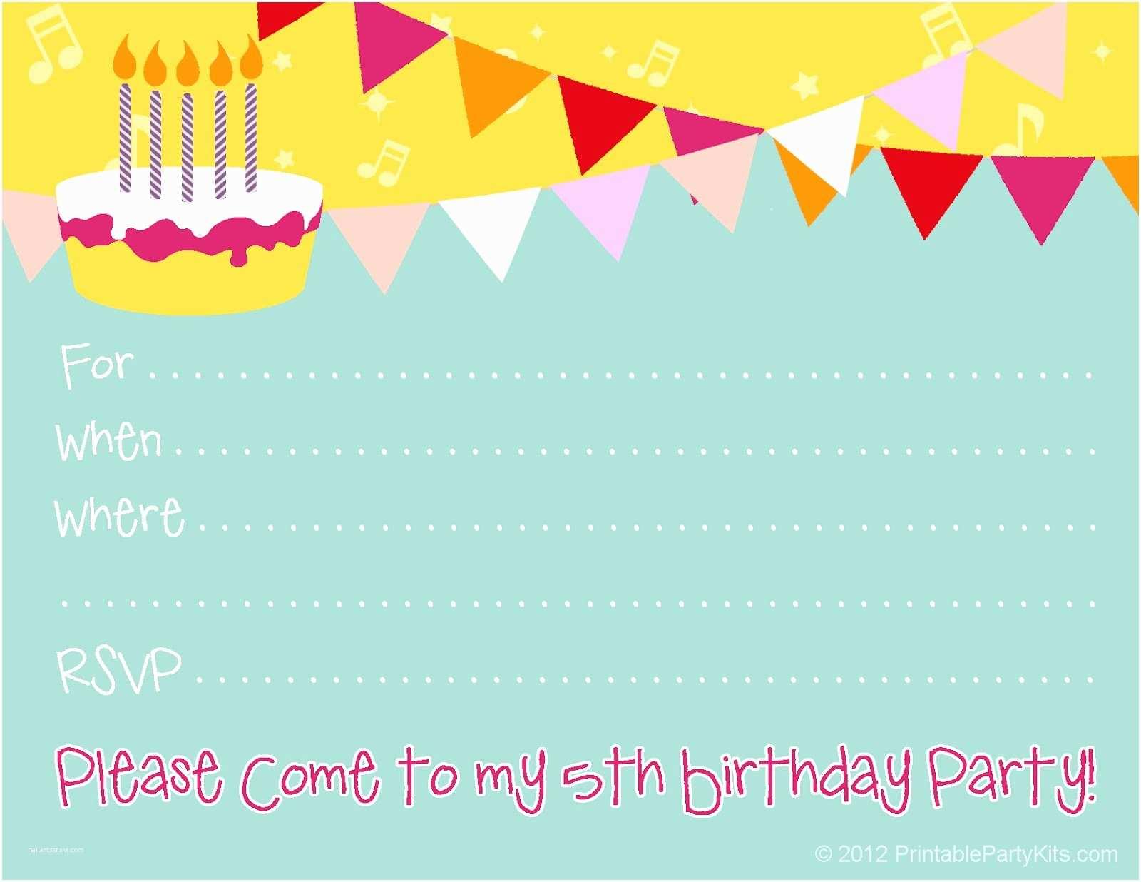 Party Invitation Sample Free Birthday Party Invitations for Girl – Bagvania Free