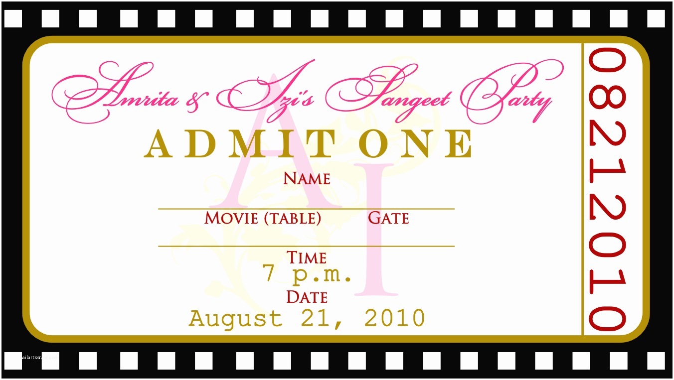 Party Invitation Template Free Movie Ticket Invitation Templates Cloudinvitation