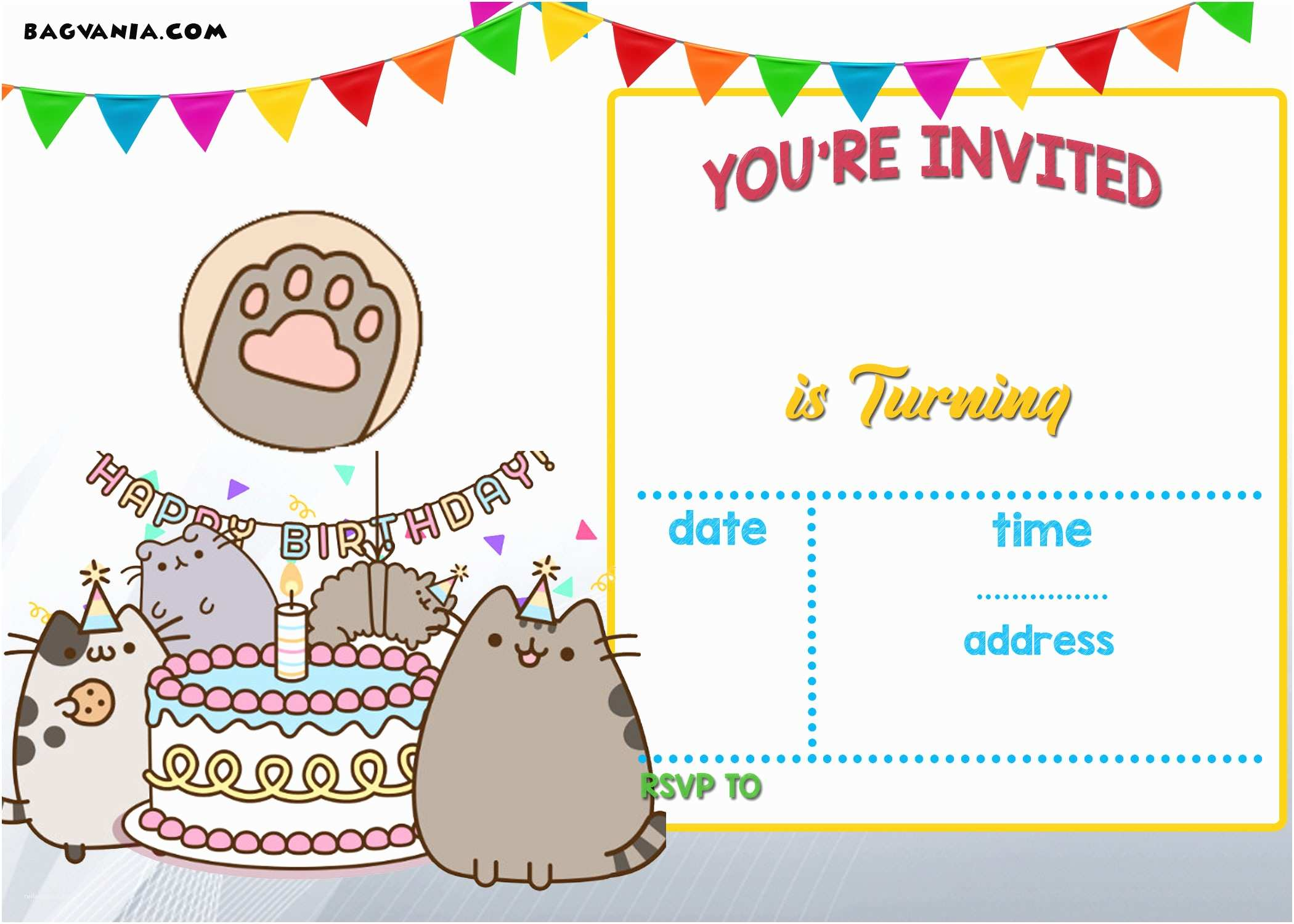 Party Invitation Template Free Printable Pusheen Birthday Invitation Template
