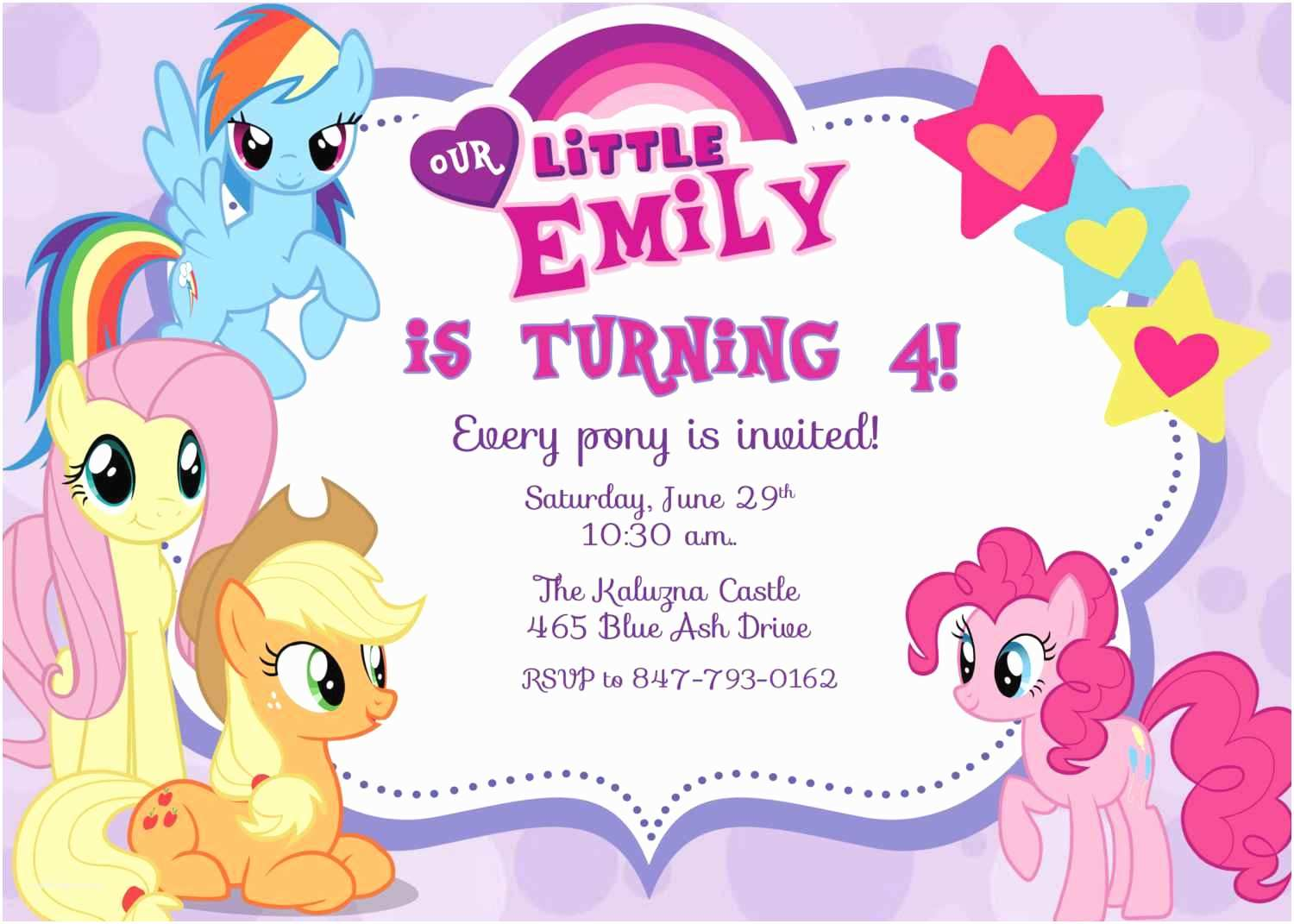 Party Invitation Template My Little Pony Birthday Invitations