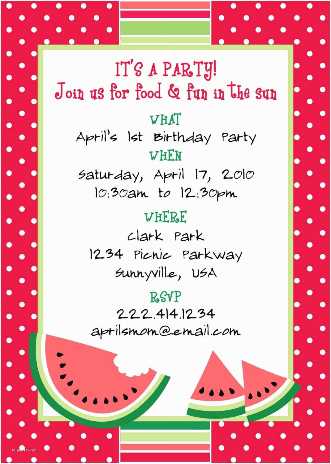 Party Invitation Template Printable Watermelon themed Party Invitation