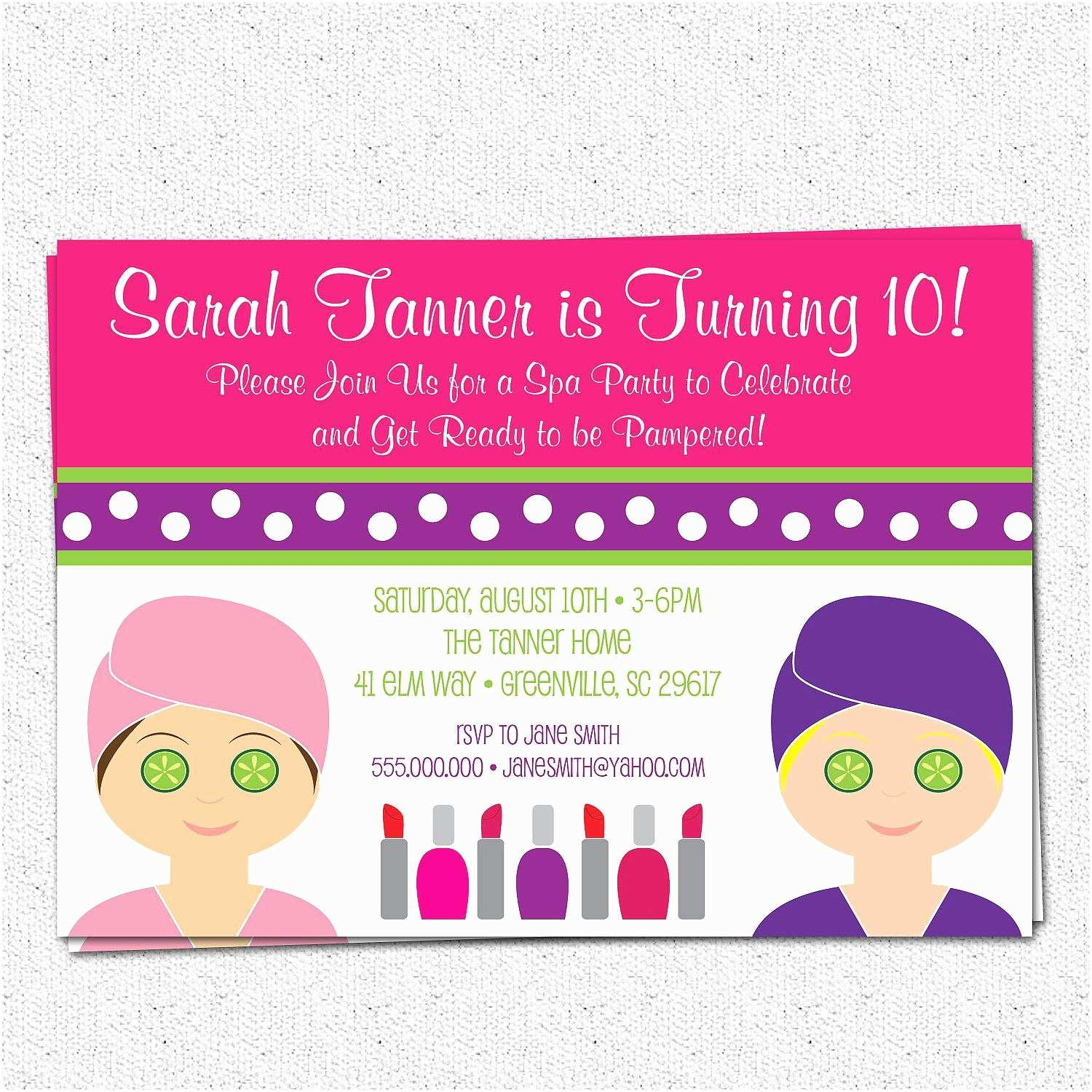 Party Invitation Template Spa Party Invitations