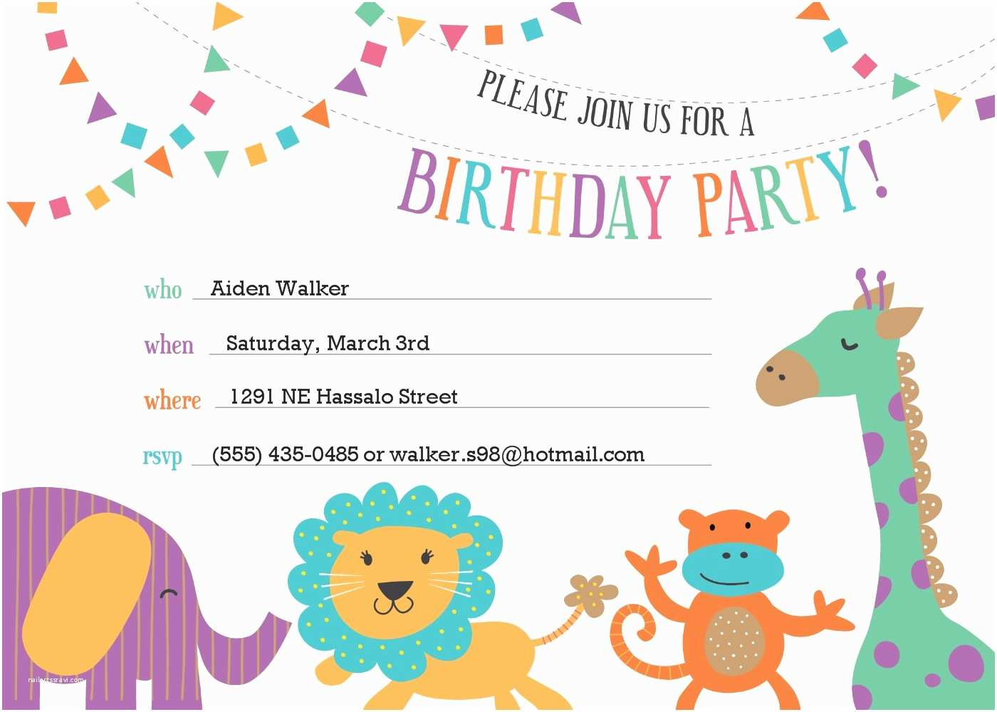 Party Invitation Template Template for Birthday Invitation