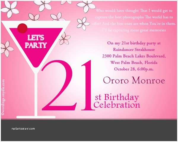 Party Invitation Text 21st Birthday Party Invitation Wording Wordings and Messages