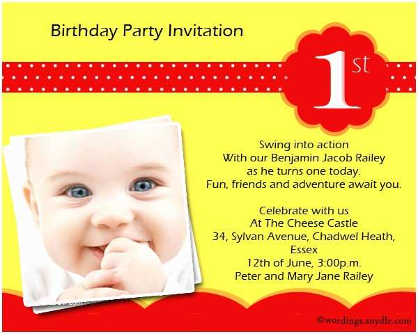 Party Invitation Text Message 1st Birthday Party Invitation Wording Wordings and Messages